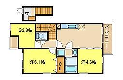 兵庫県姫路市飾東町庄の賃貸アパートの間取り