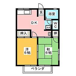 静岡県藤枝市田中1の賃貸アパートの間取り
