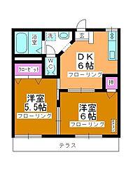 第5中平野ハウス[102号室]の間取り