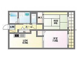 フルーレ伊勢II[2階]の間取り