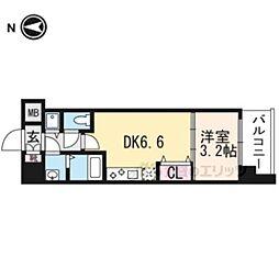 京都市営烏丸線 九条駅 徒歩6分の賃貸マンション 3階1DKの間取り