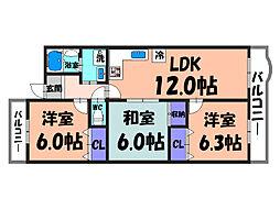 大阪府堺市北区新堀町2丁の賃貸マンションの間取り