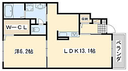 JR阪和線 日根野駅 徒歩14分の賃貸アパート 1階1LDKの間取り