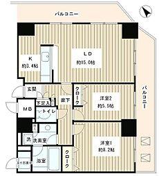 JR山手線 目黒駅 徒歩8分の賃貸マンション 15階1LDKの間取り