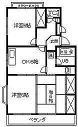 愛知県安城市小川町堂開道の賃貸マンションの間取り
