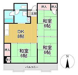 南薫ハイツ[7階]の間取り