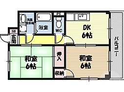 M'PLAZA城東五番館 8階2DKの間取り