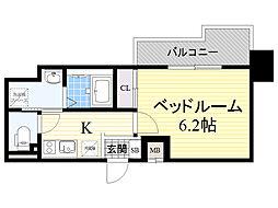 Dimus新大阪 3階1Kの間取り