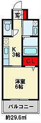 JR日豊本線 南小倉駅 徒歩15分の賃貸マンション 6階1Kの間取り