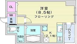 仙台市営南北線 仙台駅 徒歩12分の賃貸マンション 12階ワンルームの間取り