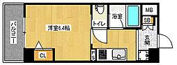 京都府京都市北区紫竹上堀川町の賃貸マンションの間取り