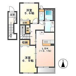 (仮称)日立市田尻町新築アパート[201号室]の間取り