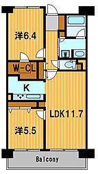 神奈川県横浜市神奈川区三ツ沢下町の賃貸マンションの間取り
