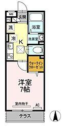 JR山陽本線 福山駅 徒歩22分の賃貸アパート 1階1Kの間取り