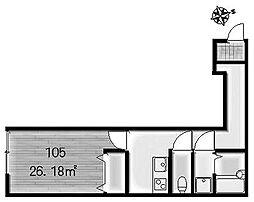 Ambition聖蹟桜ヶ丘II 2階1Kの間取り