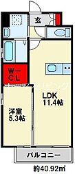 アピアランス歯大前II 4階1LDKの間取り