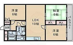 第2マンション寺直 6階3LDKの間取り