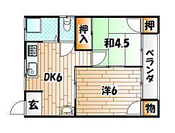 福岡県北九州市戸畑区土取町の賃貸アパートの間取り