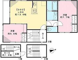 東京都世田谷区三軒茶屋1丁目の賃貸アパートの間取り