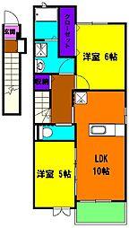 静岡県浜松市東区薬新町の賃貸アパートの間取り