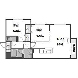 ブランシャール桑園[4階]の間取り