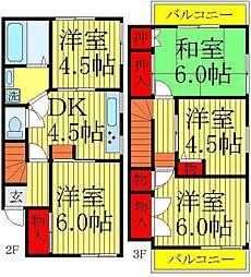 [一戸建] 千葉県鎌ケ谷市北中沢2丁目 の賃貸【/】の間取り