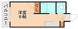 エステート有井 4階1Kの間取り
