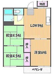 岡山県岡山市北区下中野の賃貸アパートの間取り