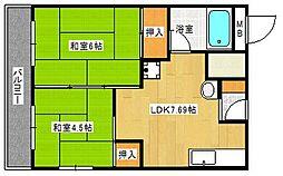 グリーンコーポ北加賀屋[2階]の間取り