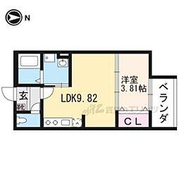 京阪宇治線 桃山南口駅 徒歩5分の賃貸アパート 1階1LDKの間取り