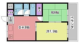 兵庫県西宮市西田町の賃貸マンションの間取り