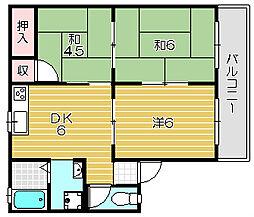 大阪府茨木市桑田町の賃貸アパートの間取り