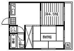 田野コーポ[201号室]の間取り