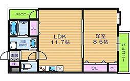 大阪府大阪市東住吉区今川5丁目の賃貸アパートの間取り
