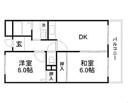 大阪モノレール 大日駅 徒歩23分の賃貸マンション 3階2DKの間取り