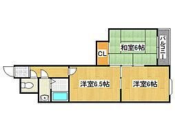 [テラスハウス] 大阪府大阪市生野区中川東1丁目 の賃貸【/】の間取り