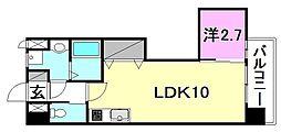Mayfair美沢Premium 6階1LDKの間取り