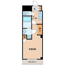 仙台市地下鉄東西線 連坊駅 徒歩3分の賃貸マンション 3階1Kの間取り