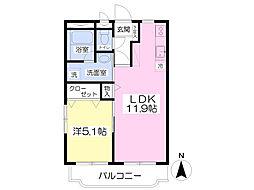 パークマンション旭駅前I 2階1LDKの間取り