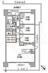北大阪急行電鉄 千里中央駅 徒歩10分の賃貸マンション 2階3LDKの間取り