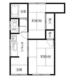 竹田アパート[2号室]の間取り