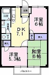 大阪府堺市東区丈六の賃貸アパートの間取り