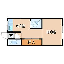 杭の瀬アパート[6号室]の間取り