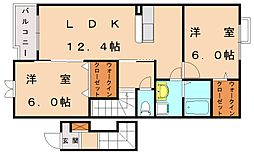 福岡県古賀市今の庄2丁目の賃貸アパートの間取り