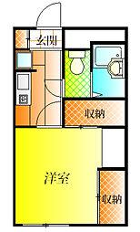 近鉄南大阪線 古市駅 徒歩24分の賃貸アパート 1階1Kの間取り