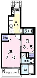 JR青梅線 羽村駅 徒歩18分の賃貸アパート 1階1SKの間取り