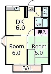 エステートピア889[1階]の間取り
