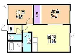 コーポヤマモト 2階2LDKの間取り