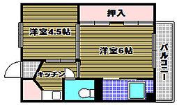 大阪府河内長野市木戸西町3丁目の賃貸アパートの間取り