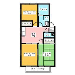 パークサイドII B[2階]の間取り